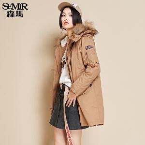 森马中长款棉服 冬装 女士连帽毛领可脱卸内胆宽松外套潮