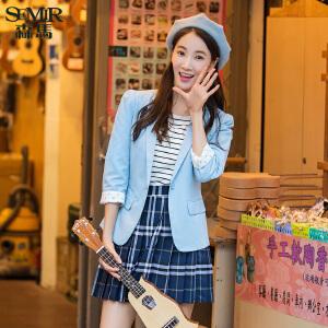 森马蓝色小西装上衣 显瘦 春装女士修身小西服外套女韩版