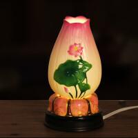 佛堂佛前灯佛具佛教用品佛摆件 陶瓷电子莲花灯长明灯供佛灯LED灯