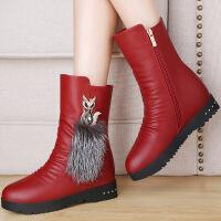 莫蕾蔻蕾2016新款厚底短靴内增高雪地靴女短筒棉鞋冬季保暖靴子平底女靴潮 6d650