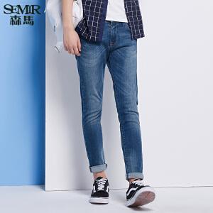 森马牛仔裤 夏装 男士中低腰修身小脚水洗牛仔长裤韩版潮