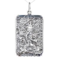戴和美 S925银精雕属相兔之本命佛,文殊菩萨佛牌 吊坠
