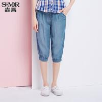 森马水洗牛仔裤 夏装 女士中低腰直筒六分裤牛仔中裤韩版1