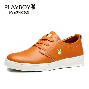 花花公子男鞋新款休闲皮鞋男士鞋子英伦休闲鞋男板鞋透气潮  德-CX39529