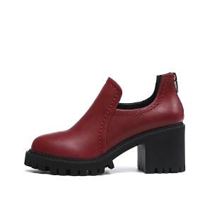 戈美其年秋季英伦风深口圆头女鞋高跟粗跟黑色鞋子女单鞋