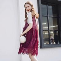 孕妇装夏装2017新款宽松中长款无袖上衣蕾丝背心裙深V连衣裙夏季 S17085