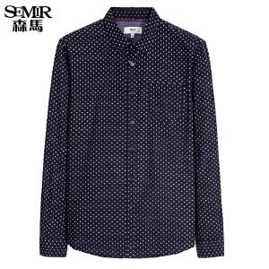 森马长袖衬衫 冬装 男士方领蜻蜓印花商务休闲衬衣韩版潮