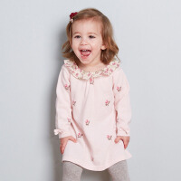 davebella戴维贝拉女童宝宝秋装新款针织长袖连衣裙