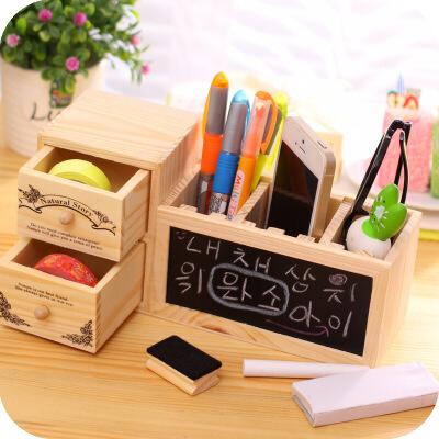 韩国小清新 木质可爱插槽笔筒 多功能留言黑板 创意办公用品