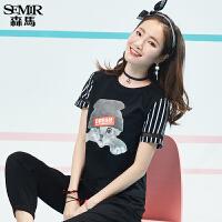 森马短袖T恤女2017夏装新款弹力透气半袖上衣韩版创意图案字母潮
