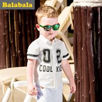 【6.26巴拉巴拉超级品牌日】巴拉巴拉男童衬衫短袖小童宝宝上衣童装夏装儿童衬衣数字图案