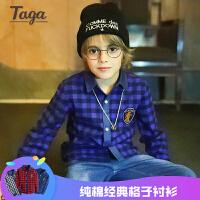 TAGA 2017秋装新款童装男童长袖衬衫中大童上衣儿童衬衣纯棉