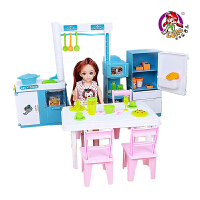 乐吉儿 芭比娃娃礼盒玩具梦幻时尚厨房公主女孩过家家玩具 六一儿童节礼物H21A