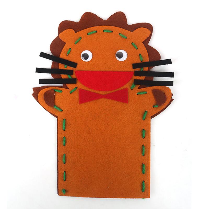 儿童布艺动物手偶不织布无纺布手套玩具幼儿园手工diy制作材料包_狮子