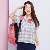 森马短袖衬衫 夏装 女士休闲格子纯棉直筒衬衣上衣韩版潮