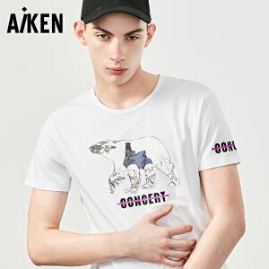 Aiken短袖T恤男士2017夏装新款潮流圆领半袖体恤男字母