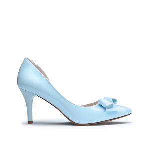 戈美其春季高跟细跟优雅时尚蝴蝶结中口女鞋