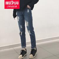 翎影时尚  2017春夏膝盖破洞乞丐裤高腰小直筒宽松牛仔裤长裤女