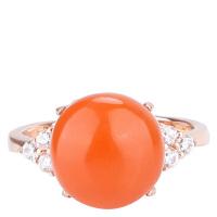 戴和美 精选天然南红玛瑙镶嵌时尚蛋面戒指(附鉴定证书)均码可调节
