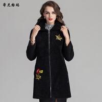 冬季女装新款时尚中长款抗寒保暖羊剪绒连帽皮草外套
