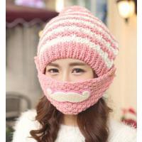 帽子女冬天韩版潮胡子毛线帽 儿童护耳可爱骑车保暖口罩帽加绒毛线