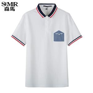 森马短袖T恤 夏装 男士POLO领拼接男装针织衫韩版潮上衣