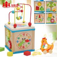 儿童串珠绕珠百宝箱6-12个月婴儿益智积木宝宝玩具0-1-2-3周岁女