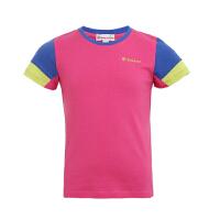探路者童装 女童舒柔拼色短袖T恤