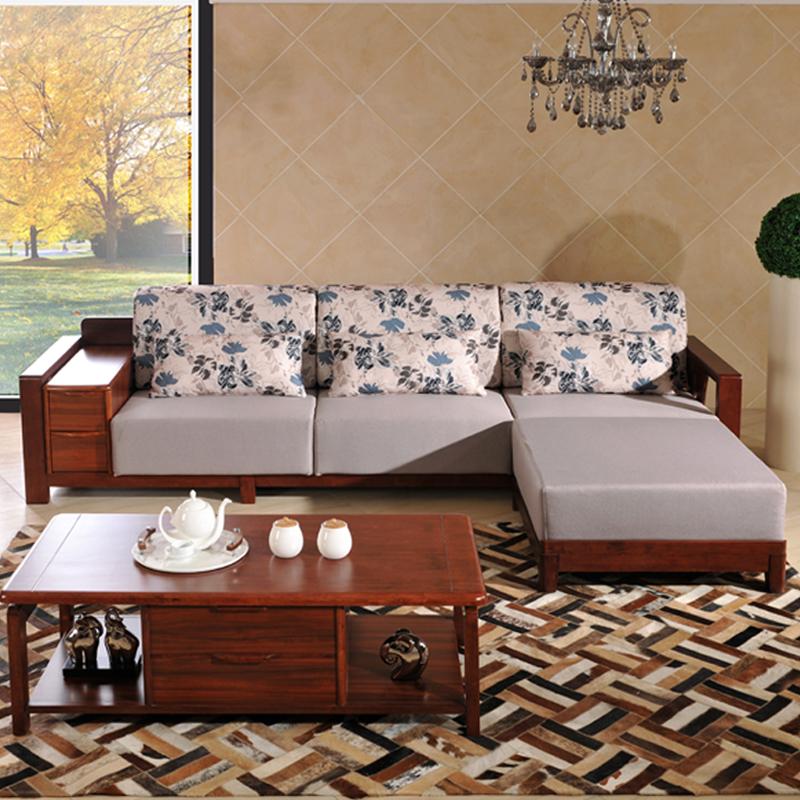 实木沙发 乌金木色 客厅小户型