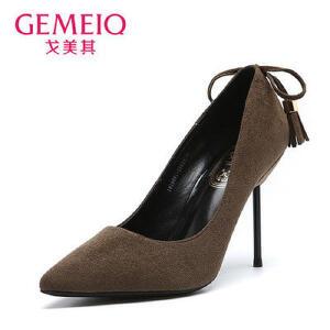 戈美其年秋季黑色浅口尖头高跟鞋女细跟优雅流苏职业单鞋