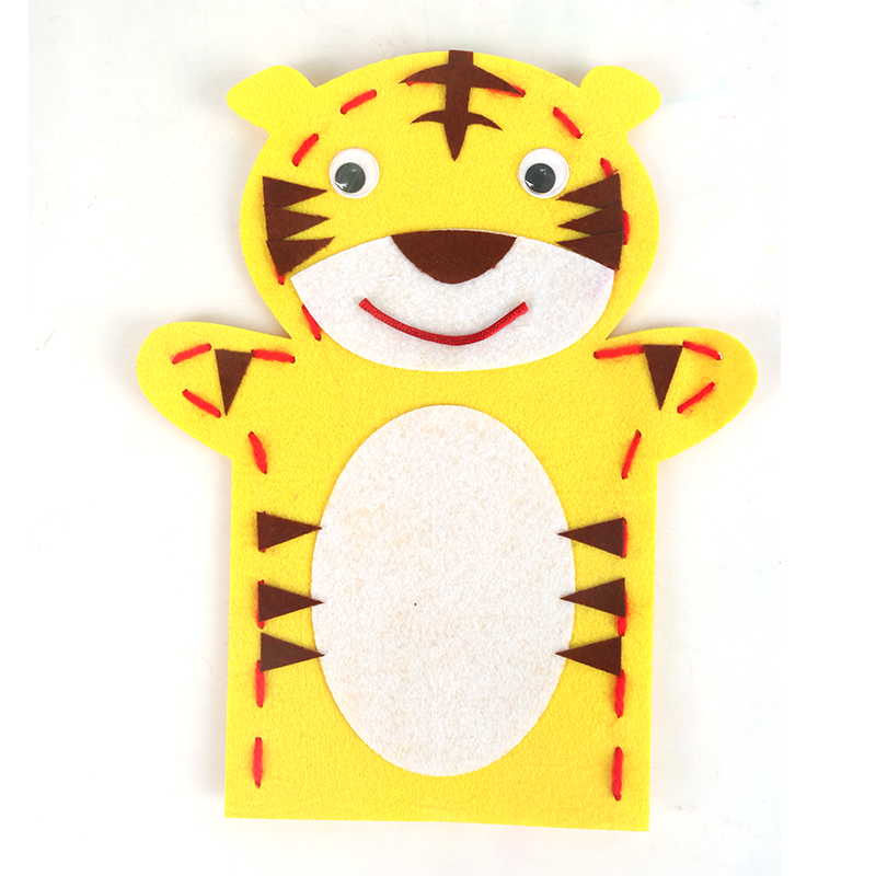 儿童布艺动物手偶不织布无纺布手套玩具幼儿园手工diy制作材料包_老虎