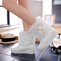 彼艾2016秋冬新款韩版甜美毛毛学生鞋 时尚水钻女鞋中筒雪地靴内增高厚底女靴子