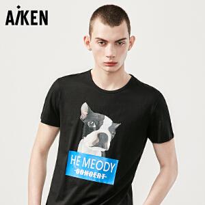 Aiken短袖T恤男士2017夏装新款圆领半袖体恤男潮流动物图案
