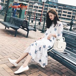 【满200减100】 2017春款连衣裙雪纺韩版学生显瘦中长款七分袖印花裙子潮