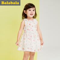 巴拉巴拉女童无袖连衣裙小童宝宝夏季新款童装儿童裙子碎花公主裙