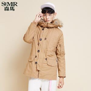 森马棉衣 冬装 男士可拆卸毛领内胆保暖净色休闲外套韩版