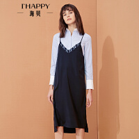 【私人衣橱】海贝年春季女V领蕾丝拼接时髦吊带连衣裙
