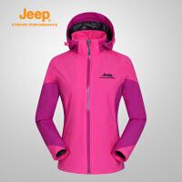 【满200减100】Jeep/吉普冲锋衣女款户外单层防风防水透气外套风衣J656010113