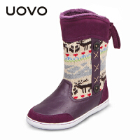 UOVO2017新款童鞋秋冬儿童童靴女童鞋女童雪地靴亲子鞋中筒毛绒女童靴子 驯鹿