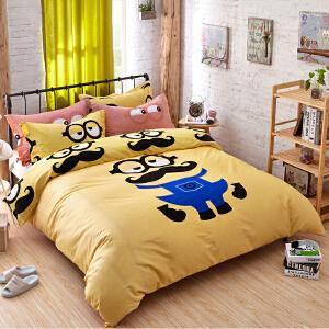 OLYI 纯棉床上用品四件套 全棉斜纹活性印花床单式家纺四件套 黄豆豆床品四件套 床上四件套