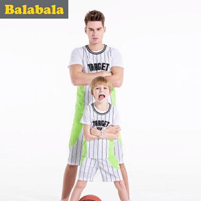 巴拉巴拉中性套装中大童童装夏儿童短袖短裤篮球服两件套