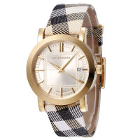 巴宝莉(BURBERRY)手表休闲皮表带日历圆盘视窗情侣对表