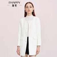 海贝女装外套 圆领单排扣立体压花中长时尚外套
