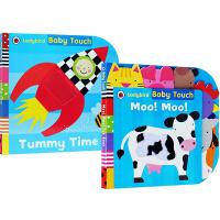 【英文原版】Ladybird Baby Touch PLAYBOOK Moo Moo 2册儿童启蒙纸板触摸书