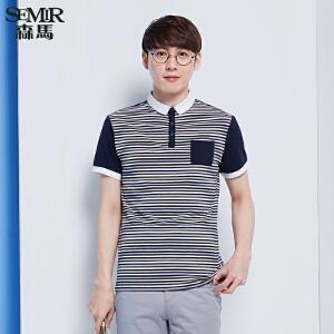 森马短袖T恤 夏装 男士条纹POLO领直筒男装针织衫韩版潮