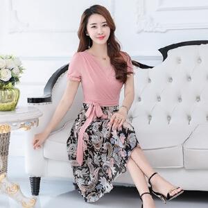 波柏龙 夏季新款女装品牌显瘦女士雪纺连衣裙中长款女新款