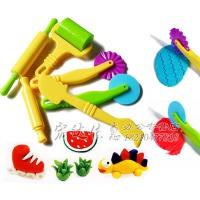 彩泥粘土diy手工擀面杖滚轮模具橡皮泥工具套装橡皮泥模具益智彩泥教程 颜色随机发