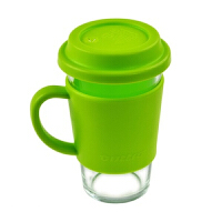 三光云彩Glasslock 500ml乐扣有柄钢化玻璃水杯带盖杯办公茶杯RC106浅绿色