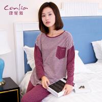 康妮雅睡衣 女士秋季长袖薄款条纹拼接居家休闲运动套装 可外穿家居服