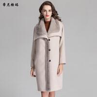 秋冬女士长款外套水貂披肩领加棉修身羊毛呢大衣M-616356